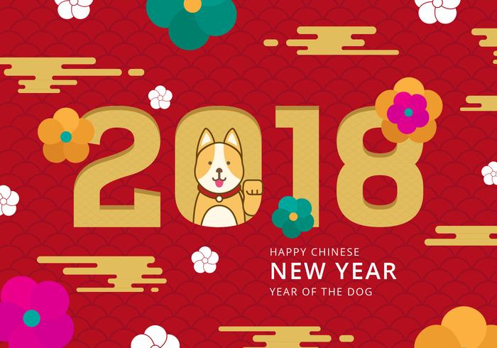 Chinese New Year of The Dog Vector Background.