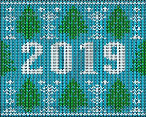 Happy New 2019 Year background knitted texture, vector.