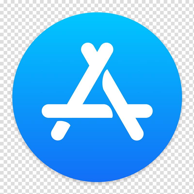 App Store for MacOS, round blue and white a logo transparent.