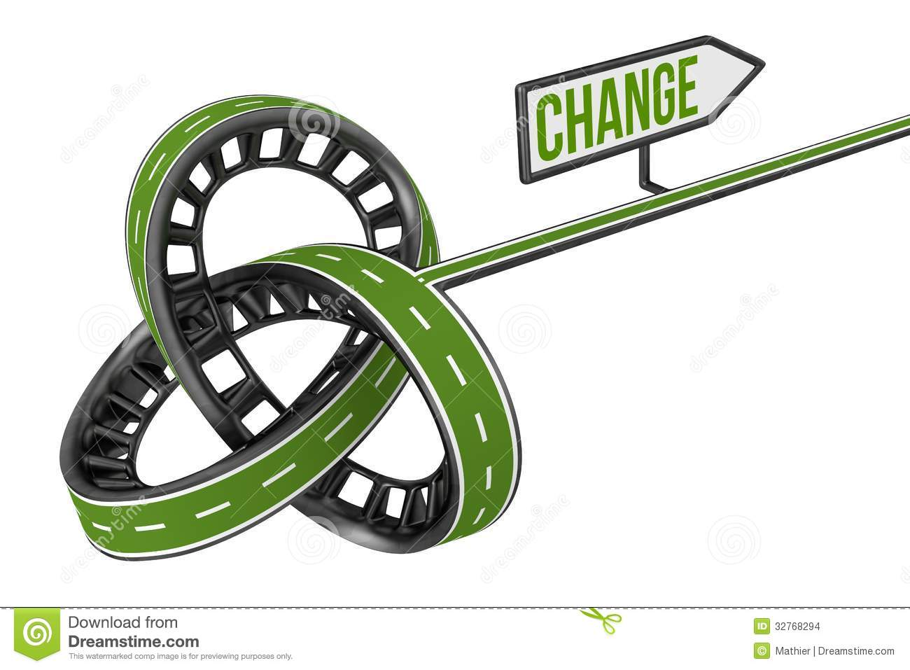 Different Way With CHANGE Sign Stock Photo.