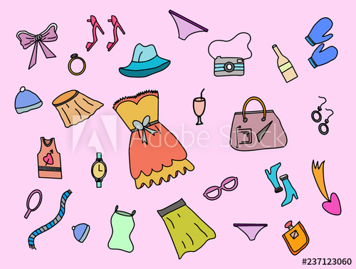 women fashion doodle with colorful color style and pink.
