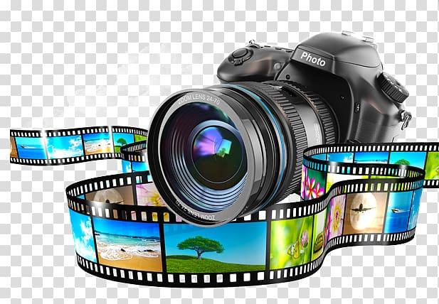 Camera Monopod, , black DSLR camera transparent background.
