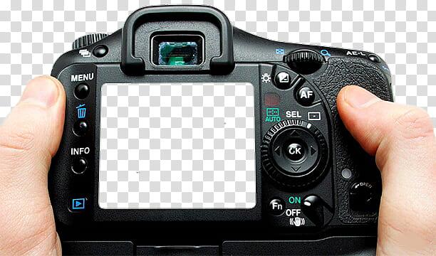 Taking f , person holding black DSLR camera transparent.