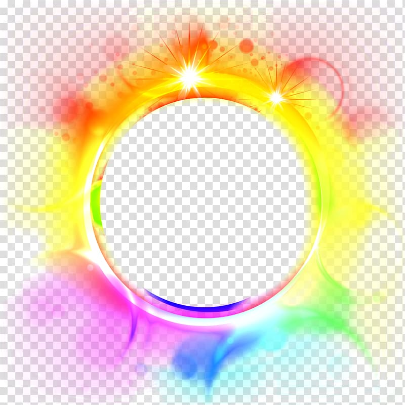 Round blue, orange, and yellow border, Scape editing, scape.