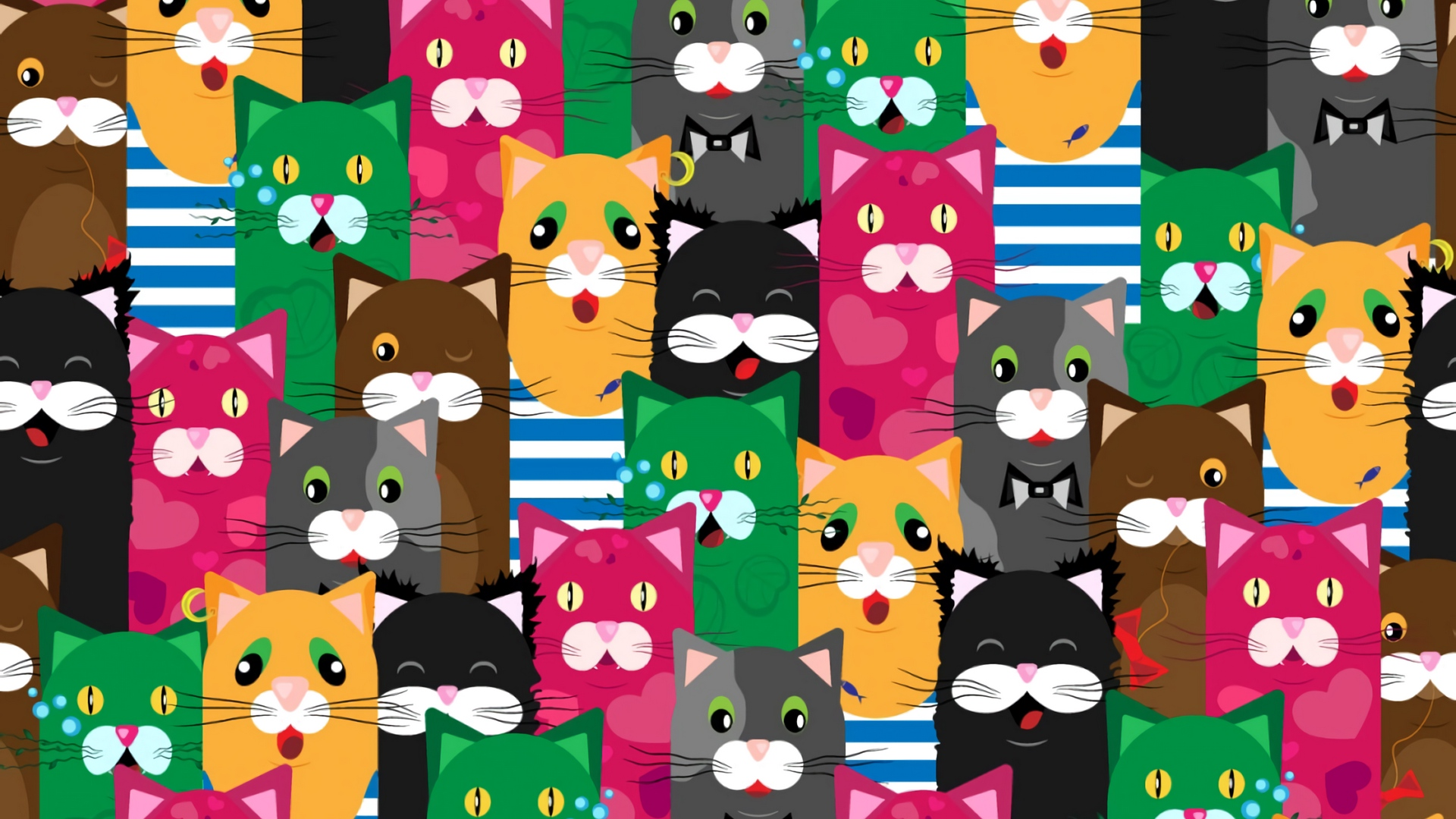 Download wallpaper 1920x1080 cats, funny, colorful, pattern.