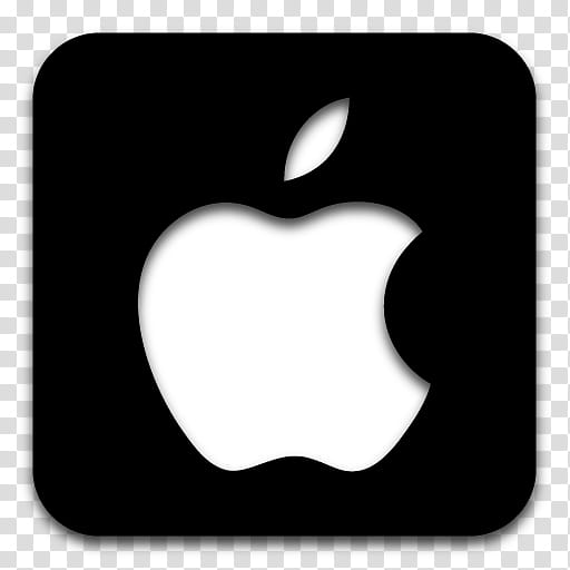 Black n White, Apple logo tile icon transparent background.