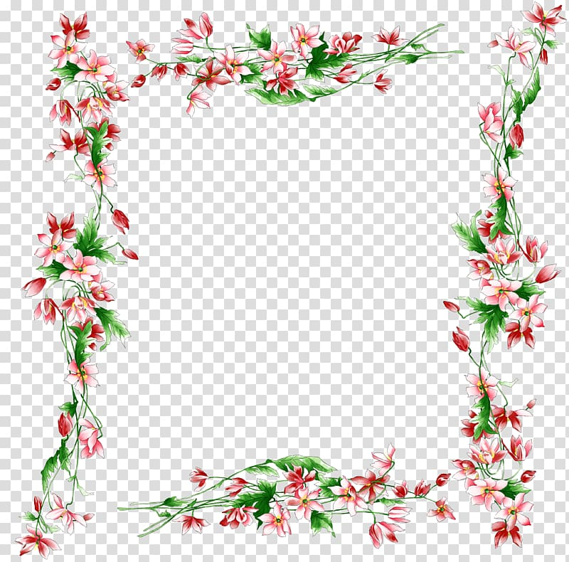 Red and green floral frame illustration, Border Flowers Rose.