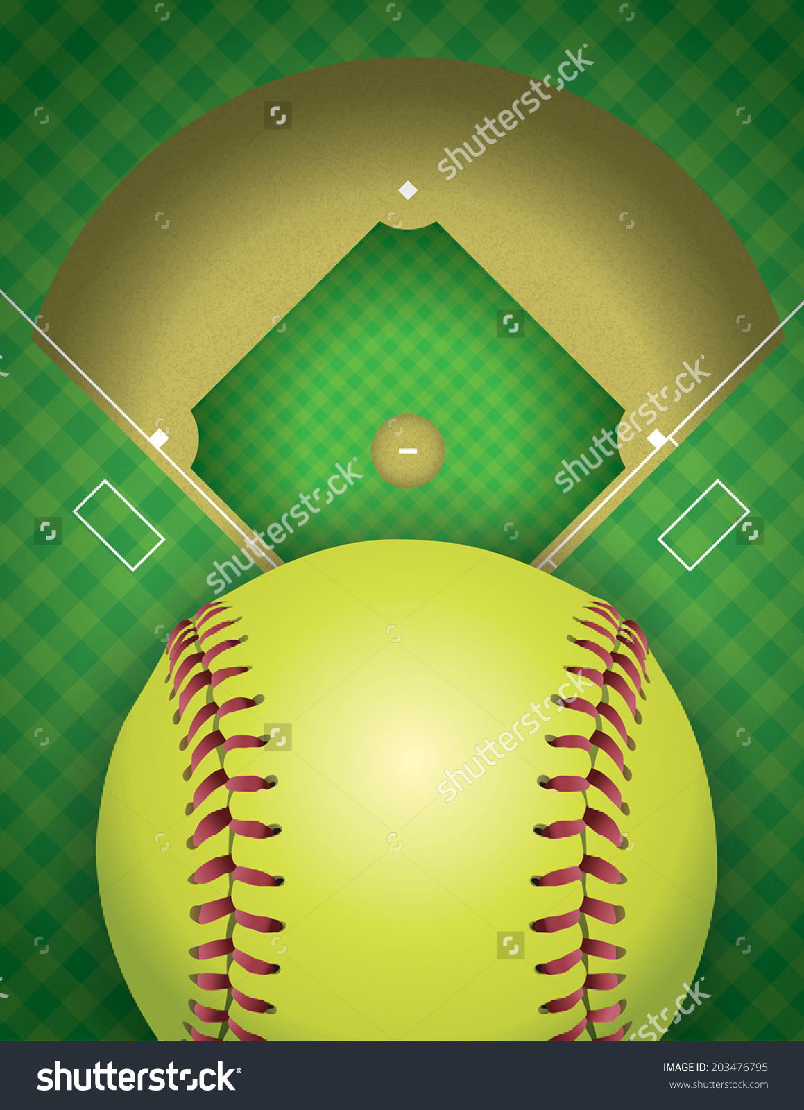 Aerial View Softball Field Ball Vector Stock Vector 203476795.