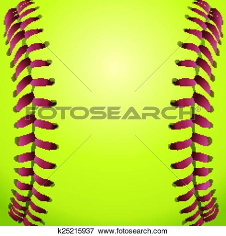 Clip Art of Softball Laces Closeup Background k25215937.