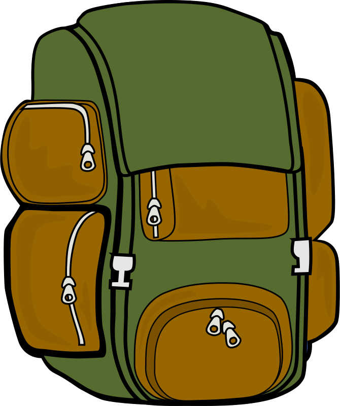 Free Clipart: Backpack (Green/Brown).