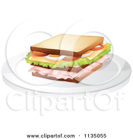 Cartoon Of Children Sharing A Sandwich.