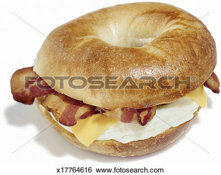 Stock Images of Bagel breakfast sandwich of eggs, cheese and bacon.