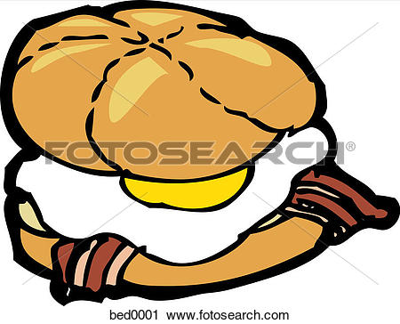 Clipart of A bacon and egg sandwich bed0001.