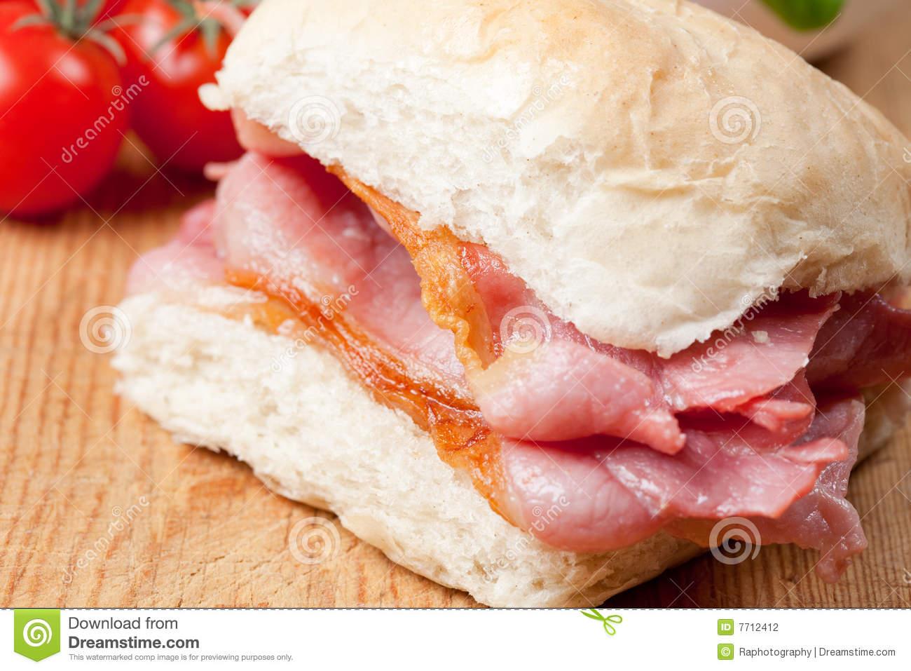 Delicious Crispy Bacon Sandwich Stock Photography.