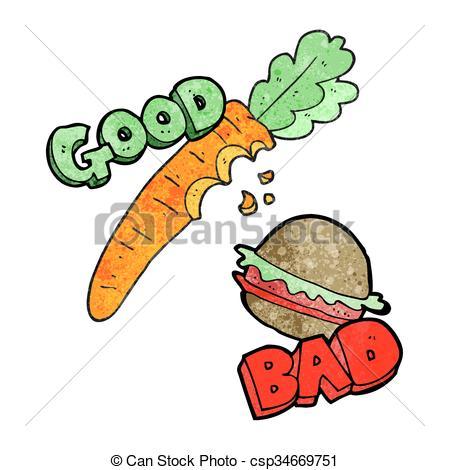 Clipart Vector of textured cartoon good and bad food.
