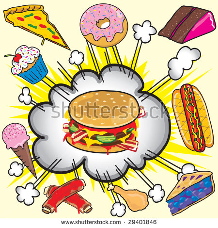 Junk Food Clipart Elements Icons Isolated Stock Vector 52591639.