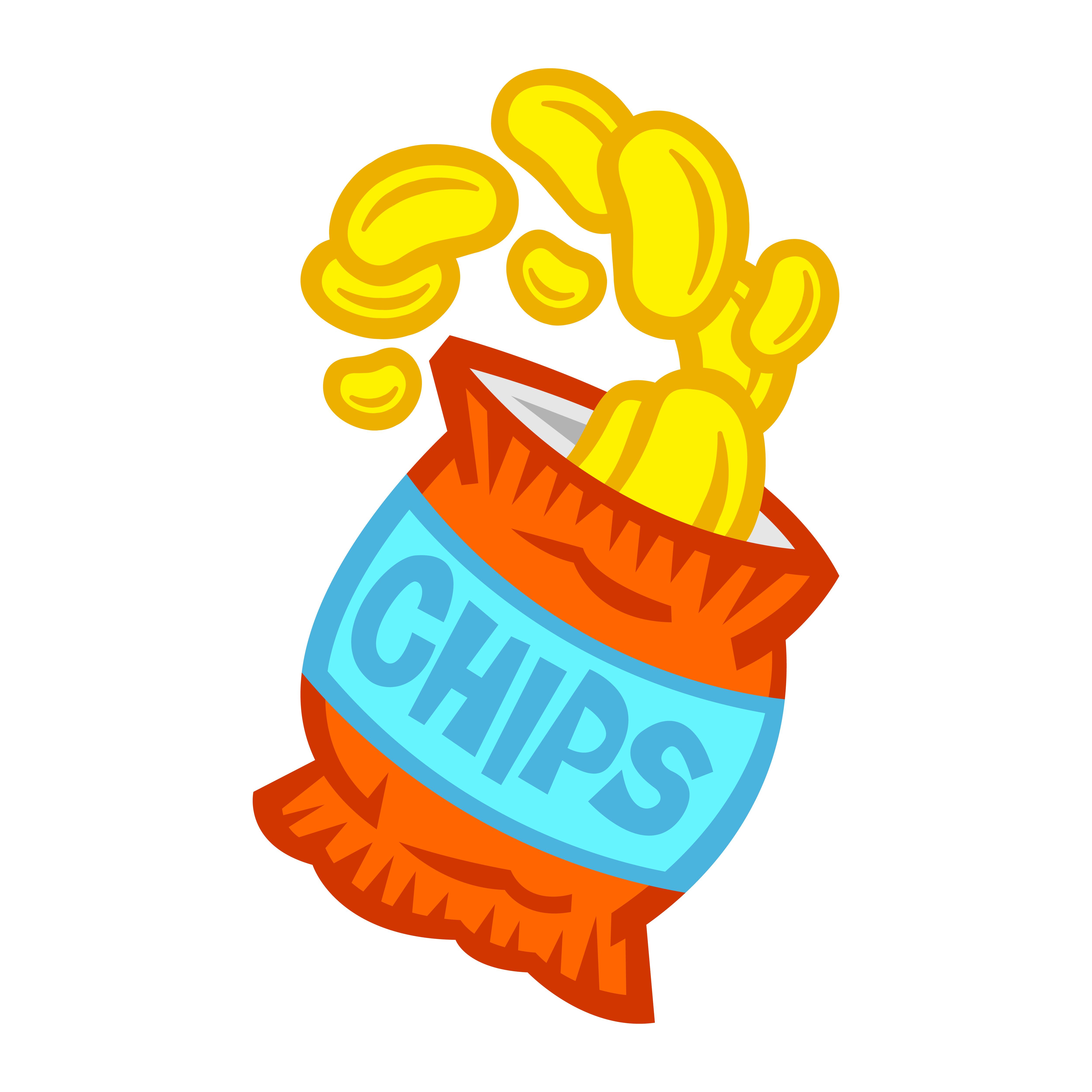 Potato Chips Bag Free Vector Art.