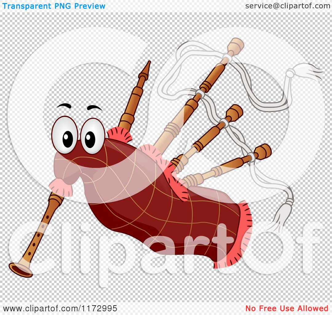 Cartoon of a Bagpipes Mascot.