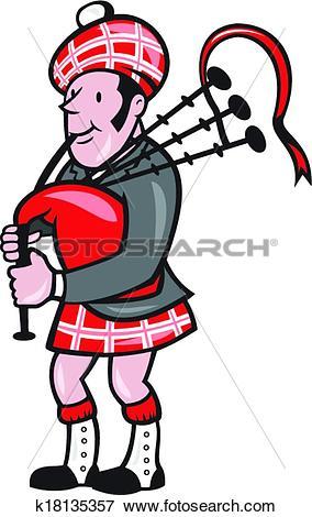 Clip Art of Scotsman Bagpiper Bagpipes Cartoon k18135357.