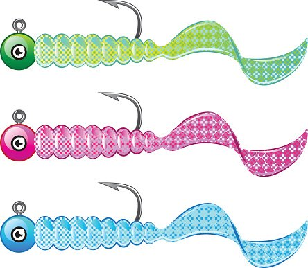Soft plastic bright jig fishing lure twisting tail fish bait.
