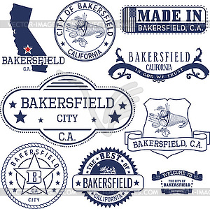 Generic stamps and signs of Bakersfield city, CA.