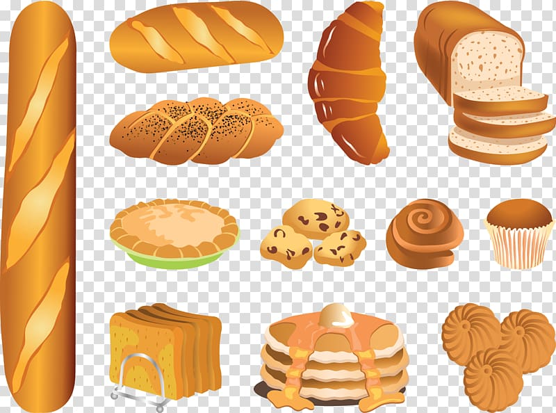 Assorted bread illustrations, Bakery Bread Pastry , French.