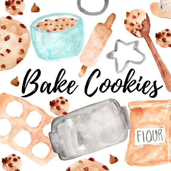 Cookies clipart watercolor clipart baking food pastries bake.