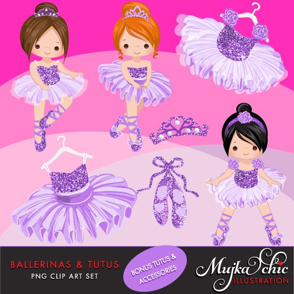 Ballerinas and Tutus Purple Glitter Clipart.
