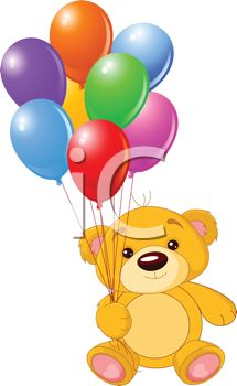 Bear Balloon Bouquet Clipart.