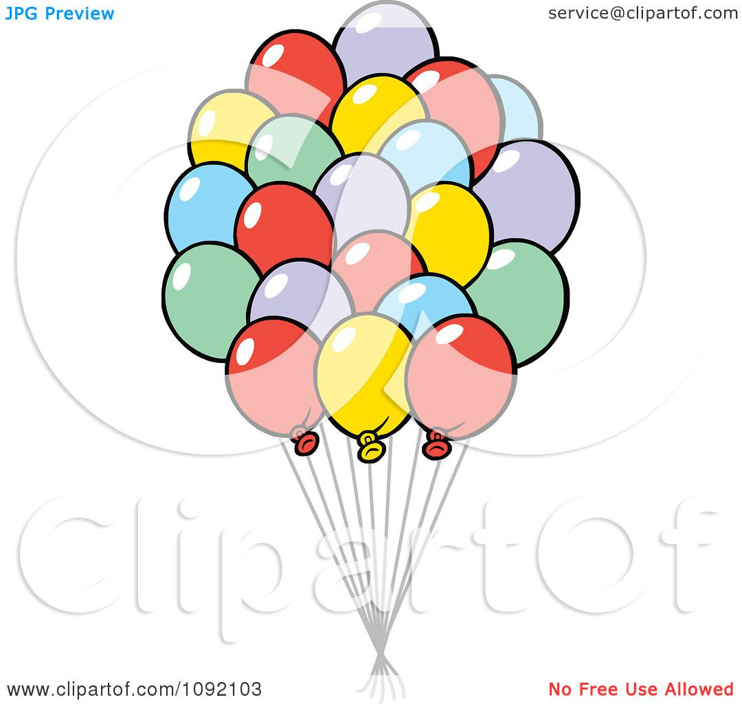Clipart Colorful Party Balloon Bouquet.