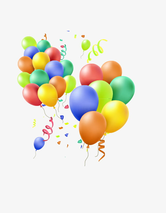 Colorful balloons streamers PNG clipart.