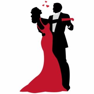 Prom Couple Dancing Silhouette Clip Art.