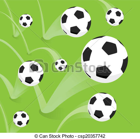 EPS Vector of Group of bouncing soccer balls.