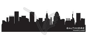 Baltimore, Maryland skyline. Detailed silhouette.