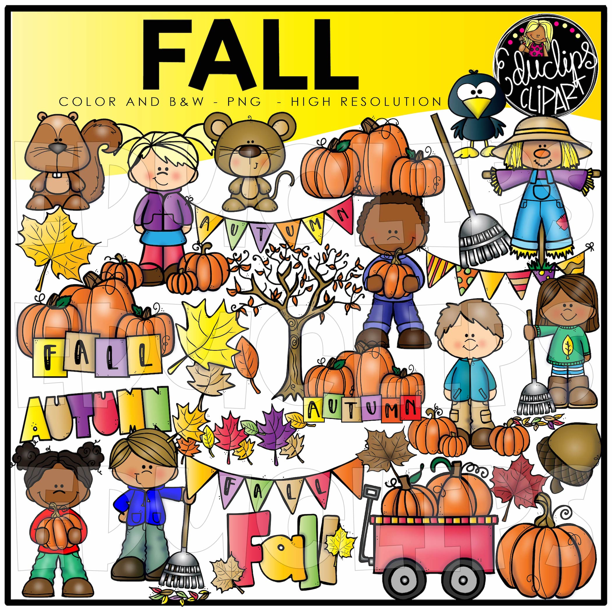 Fall Clip Art Bundle (Color and B&W).