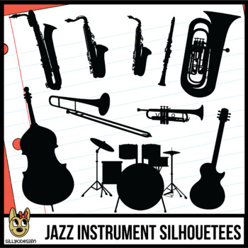 Jazz Band Instrument Silhouettes Clip Art.