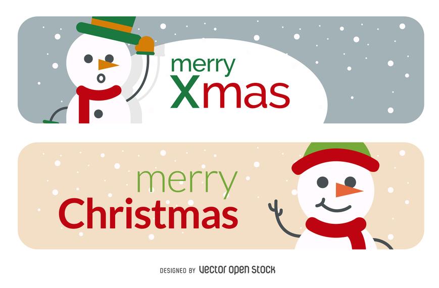 establecer plano bandera muñeco de nieve de Navidad.