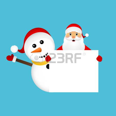 Santa Claus Y Muñeco De Nieve Con La Bandera Blanca Bandera En.