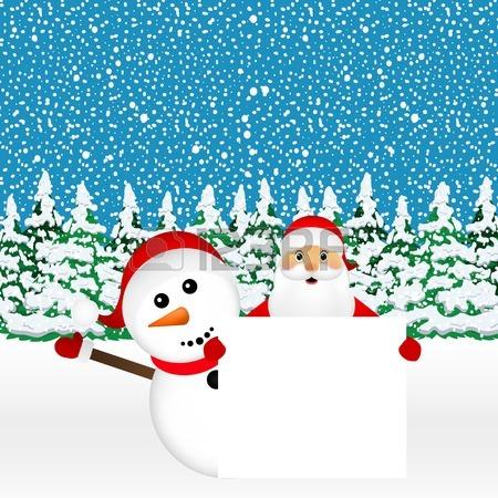 Santa Claus Y Muñeco De Nieve Con La Bandera Blanca En Blanco En.