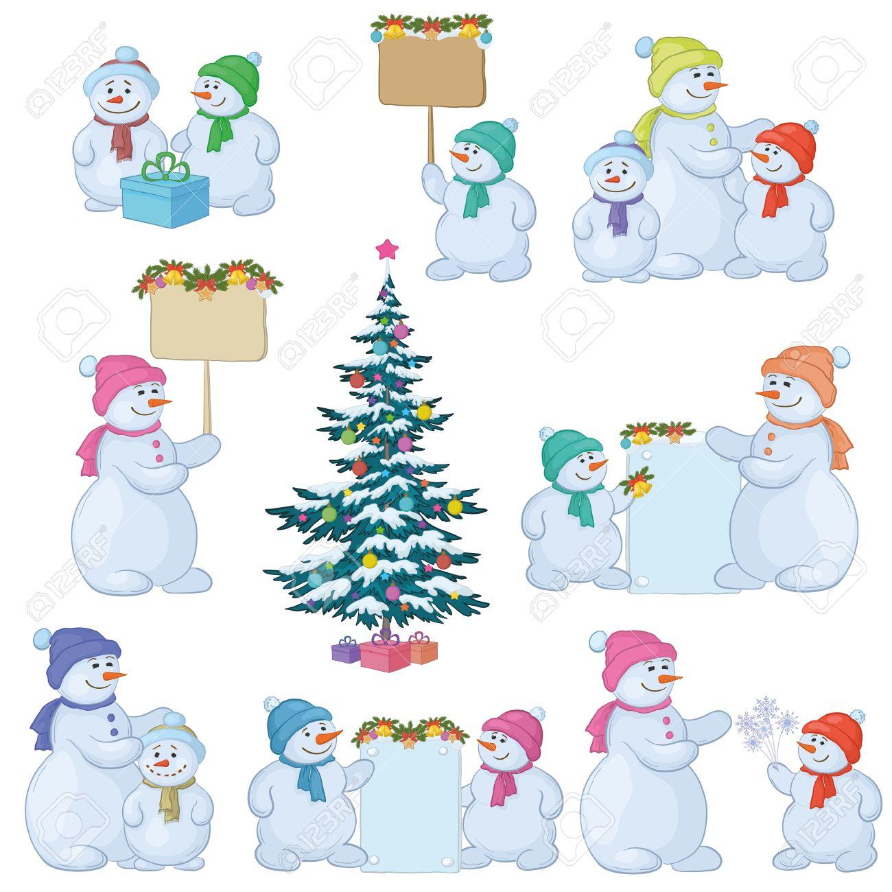 Árbol De Navidad Y Muñeco De Nieve De Dibujos Animados Conjunto.