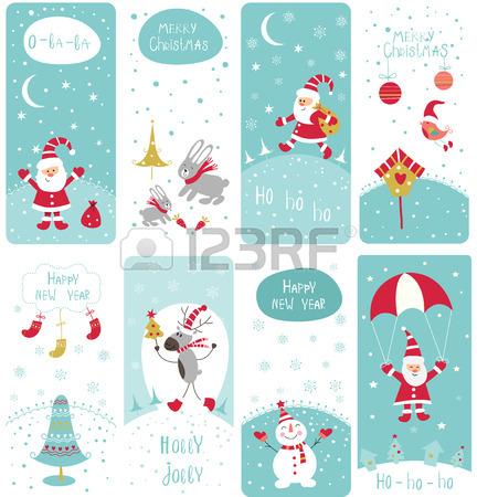 Conjunto De Lindo Del Doodle Banderas De Navidad Con Santa, Muñeco.