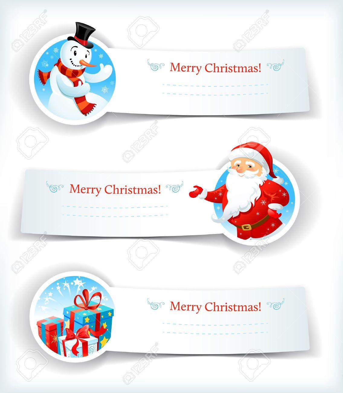 Banderas De La Navidad Con Santa Claus Y Muñeco De Nieve.