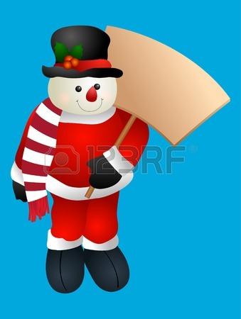 Muñeco De Nieve Que Lleva Una Bandera De Santa Celebración De Baño.