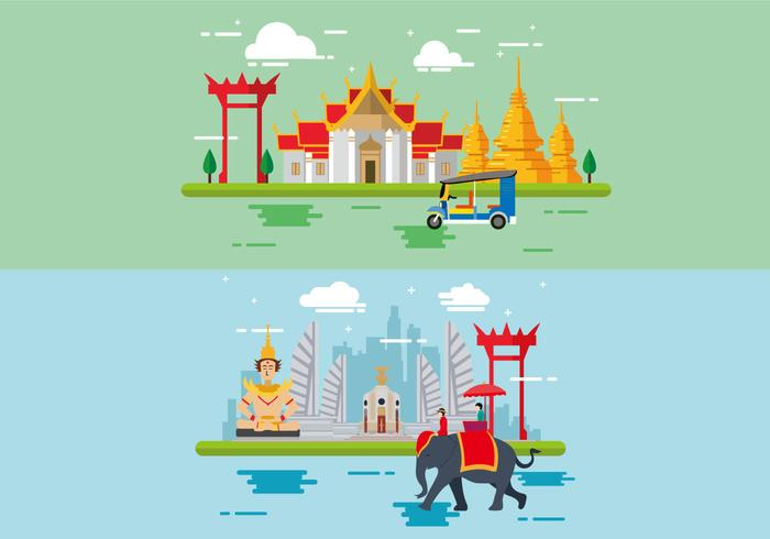Wonderful Bangkok Flat Design.