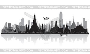 Bangkok Thailand city skyline silhouette.