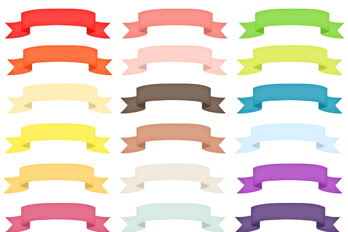 Colorful Ribbon Banner Clipart.