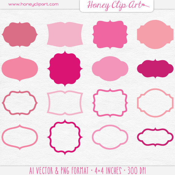 Pink Vector Shapes Pink Label Clip Art Digital Pink Frame.