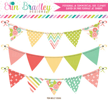 Muted Brights Bunting Clipart Banners.