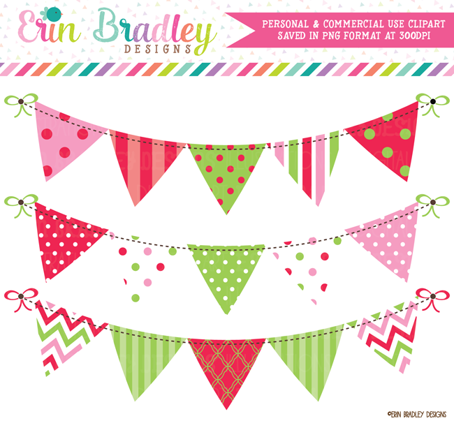 Christmas Red Green Pink Bunting Clipart.