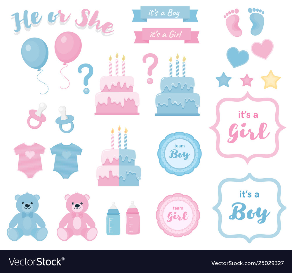Gender reveal clipart with banners and framesblue.